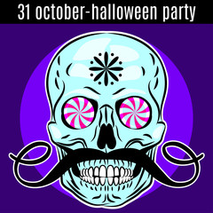 Halloween Party design template for poster, flyer. Funny skull.
