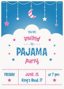 Pajama Sleepover Kids' Party Invitation Card Template