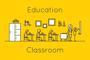 Classroom education thin line concept