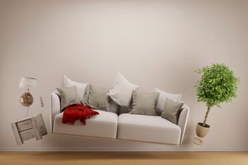 Schwerelos schwebendes Sofa im Wohnzimmer
