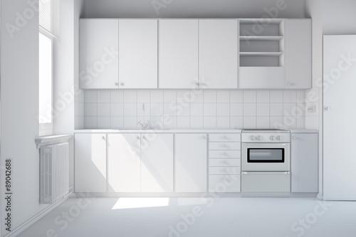 leere wei e k che mit einbauk che stockfotos und lizenzfreie bilder auf bild. Black Bedroom Furniture Sets. Home Design Ideas