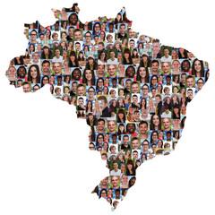 Brasilien Karte Menschen junge Leute Gruppe Integration multikul