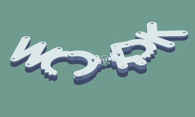 """Unlocked handcuffs made of """"work"""" word. Freedom concept illustration. Isolated on green background. Layered file."""