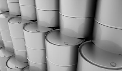 Petrol barrels on white background rendered