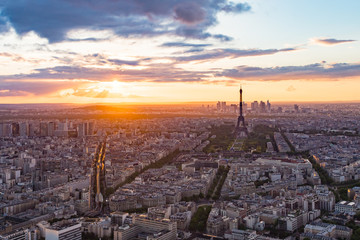 The sunset at Paris city in France