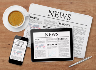 News page on tablet, mobile phone and newspaper
