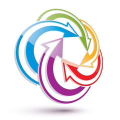 Arrows abstract conceptual symbol template, vector 3d pictogram.