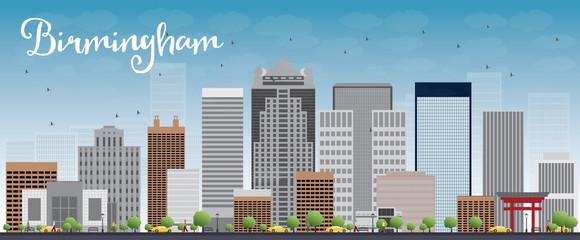 Birmingham (Alabama) Skyline with Grey Buildings and Blue Sky