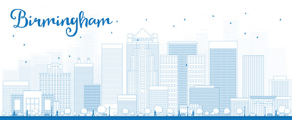 Outline Birmingham (Alabama) Skyline with Blue Buildings