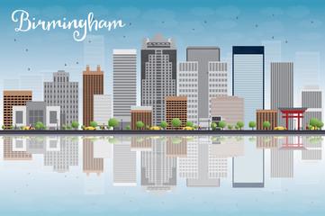 Birmingham (Alabama) Skyline with Grey Buildings, Blue Sky and r