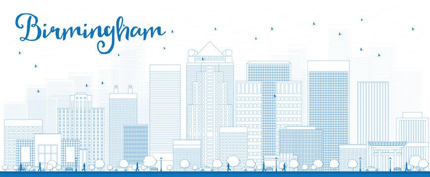 Outline Birmingham (Alabama) Skyline with Blue Buildings