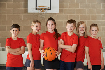 Portrait Of School Basketball Team In Gym