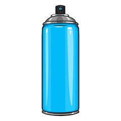 Vector Cartoon Aerosol Spray with Blue Paint