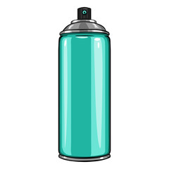 Vector Cartoon Aerosol Spray with Turquoise Paint