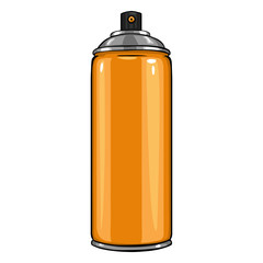 Vector Cartoon Aerosol Spray with Orange Paint