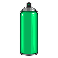 Vector Cartoon Aerosol Spray with Green Paint