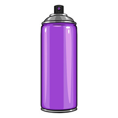Vector Cartoon Aerosol Spray with Purple  Paint