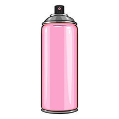 Vector Cartoon Aerosol Sprays with Pink Paint