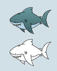 Great white shark.Happy,funny looking cartoon character.Coloring book illustration