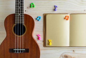 Close up of ukulele on old wooden background