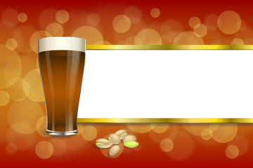Background abstract red gold drink glass dark beer pistachios stripes frame illustration vector