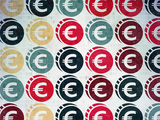 Money concept: Euro Coin icons on Digital Paper background