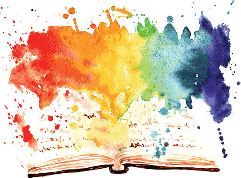 watercolor painted book containing a worlds