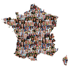 Frankreich France Karte Menschen junge Leute Gruppe Integration