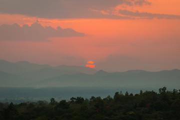 Sunset on mountain background, Thailand