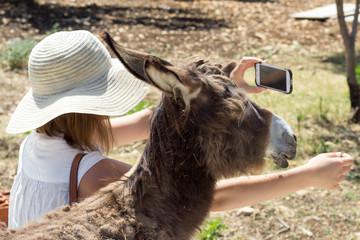 Junge Frau mit Esel