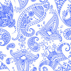 Navy blue paisley orient seamless pattern on the white background