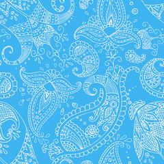 Blue Indian hand drawn paisley seamless pattern