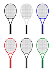 Tennis Rackets in Different Colours Black White Blue Red Gray Green
