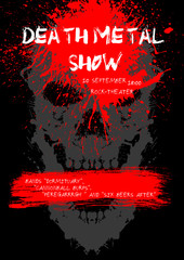 Death Metal show poster with skull.