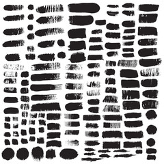 Big collection of black ink brush strokes. Vector grunge splatterd