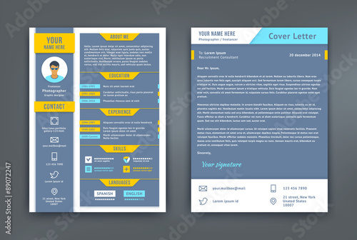 u0026quot resume and cover letter or cv template u0026quot  fichier vectoriel