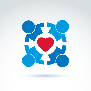 Round family consultation symbol, compassion and love sign. Peop