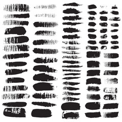 Hand drawn decorative vector brushes. Dividers, borders. Ink illustration.