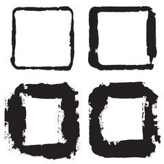 Grunge texture frame stamp. Distressed frame texture. Collection