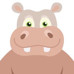 Vector illustration Cartoon Hippopotamus portrait