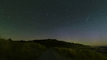 Perseid shooting star near the big dipper, This is an actual shooting star and not a satellite trace. image taken on the Danish island of Bornholm