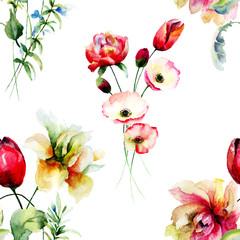 Stylized seamless background with wild flowers