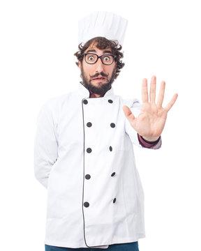 worried cook man stop gesture