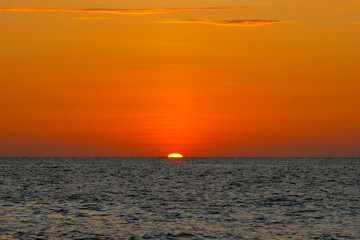 Orange sunset in the ocean