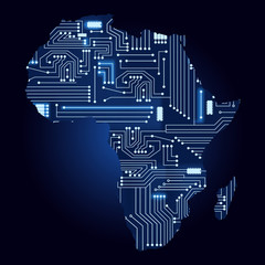 Contour map of Africa with a technological electronics circuit.