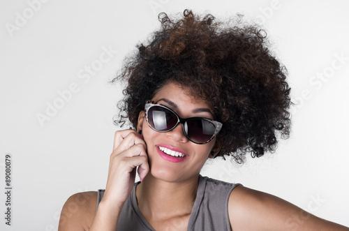 Headshot Hispanic Brunette Rebel Model With Afro Like Hair Wearing