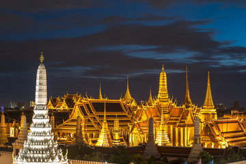 Temple of the Emerald Buddha at dusk, Wat Phra Kaew ,Thailand