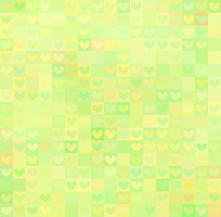 Colored background with heart shape ornament in yellow-green