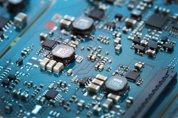 Closeup electronic circuit board.
