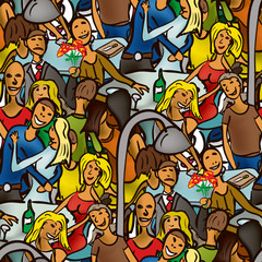 Seamless pattern of people for a walk in the evening